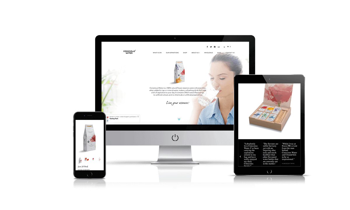 Conscious Water Shopify store by Q-Biz | eCommerce Agency