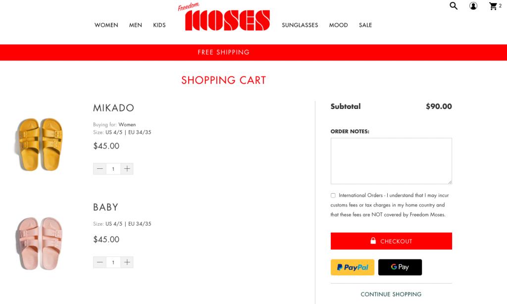 FreedoMoses Shopping Cart